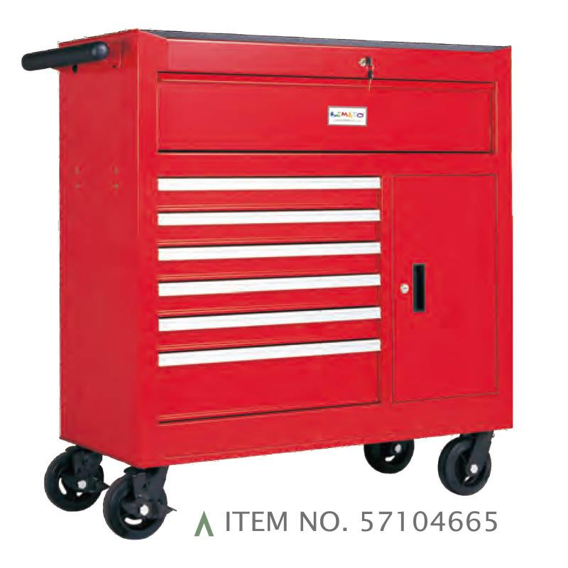7-DRAWER ROLL-WAGON WITH BULK STORAGE COMPARTMENT FULLY SHELF-CLOSING BALL BEARING SLIDES