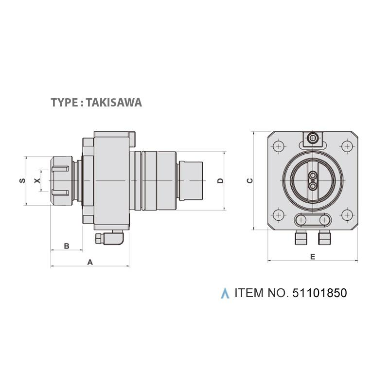 AXIAL MILLING AND DRILLING HEAD (0°) (TYPE: TAKISAWA)