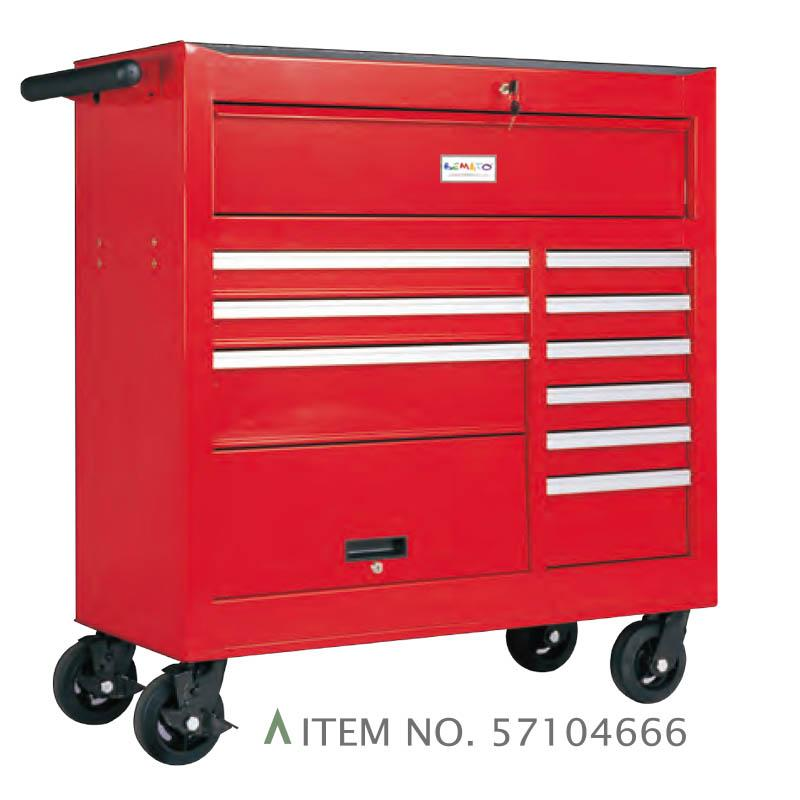 10-DRAWER ROLL-WAGON WITH BULK STORAGE COMPARTMENT FULLY SHELF-CLOSING BALL BEARING SLIDES