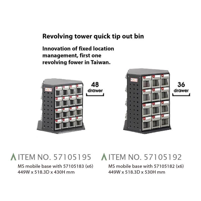 MOBILE STAND CARTS - REVOLVING TOWER QUICK TIP OUT BIN