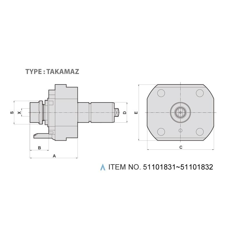 AXIAL MILLING AND DRILLING HEAD (0°) (TYPE: TAKAMAZ)