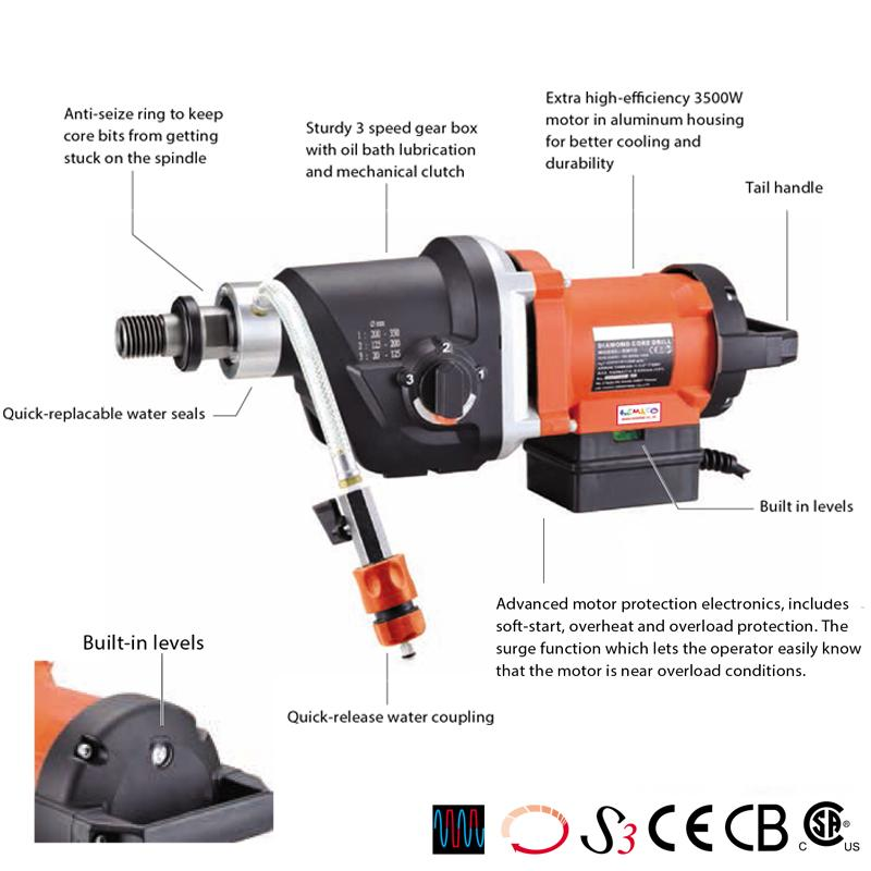 RIG-MOUNTED DIAMOND CORE DRILL MOTORS