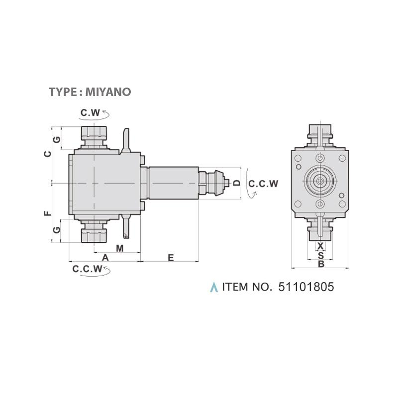 RADIAL MILLING AND DRILLING HEAD DOUBLE HEADS (90°) (TYPE: MIYANO)