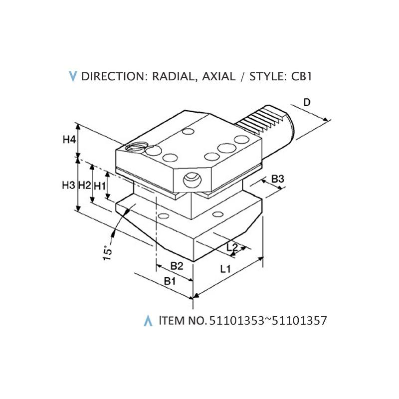 DIN 69880 COMBINED STATIC HOLDERS (STYLE: CB1)