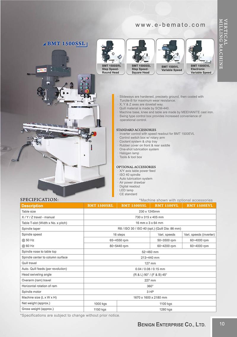 Vertical Milling Machine-BEMATO - Benign Enterprise Co , LTD