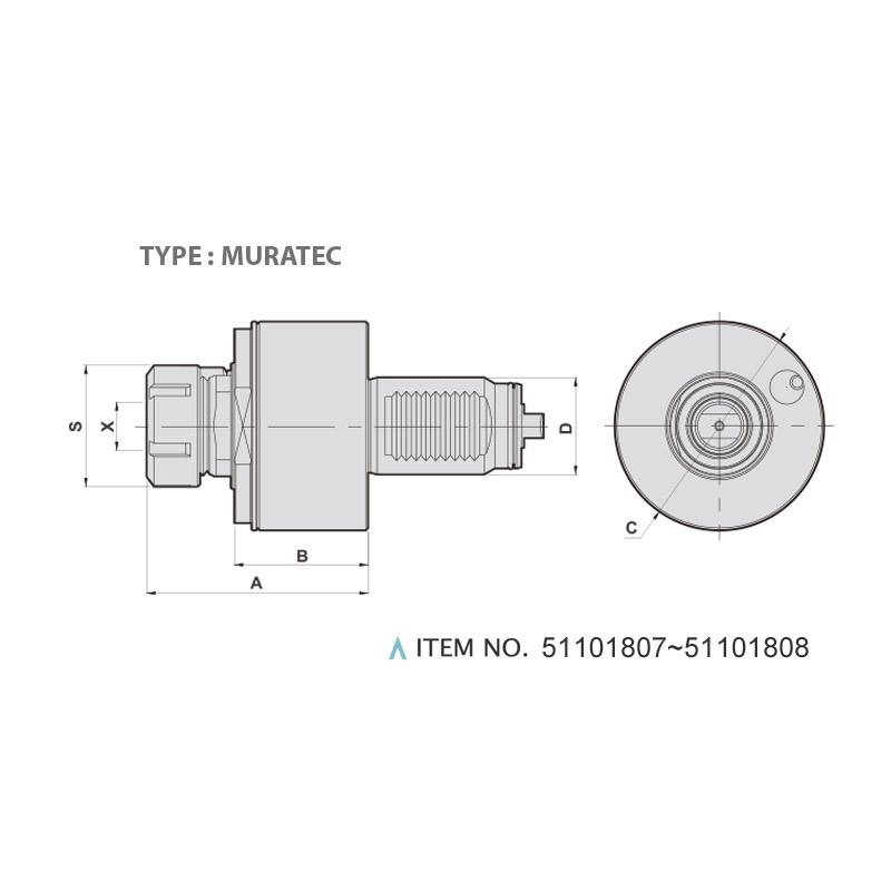 AXIAL MILLING AND DRILLING HEAD (0°) (TYPE: MURATEC)