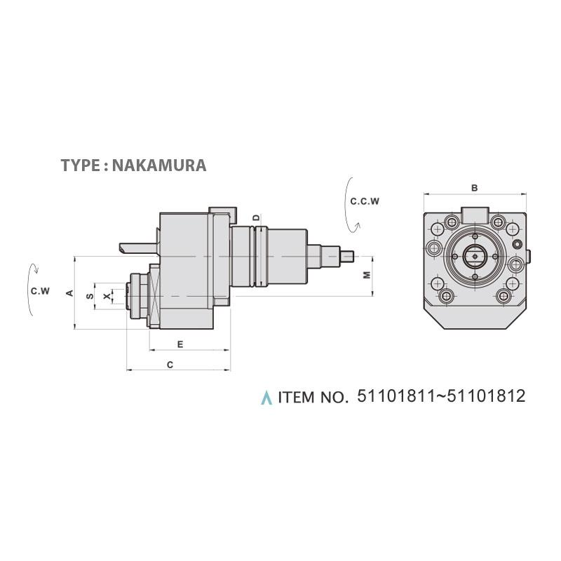AXIAL DRILLING AND MILLING HEAD OFFSET (0°) (TYPE: NAKAMURA)