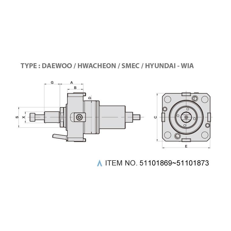 AXIAL MILLING AND DRILLING HEAD (0°) (TYPE: DAEWOO / HWACHEON / SMEC / HYUNDAI - WIA)