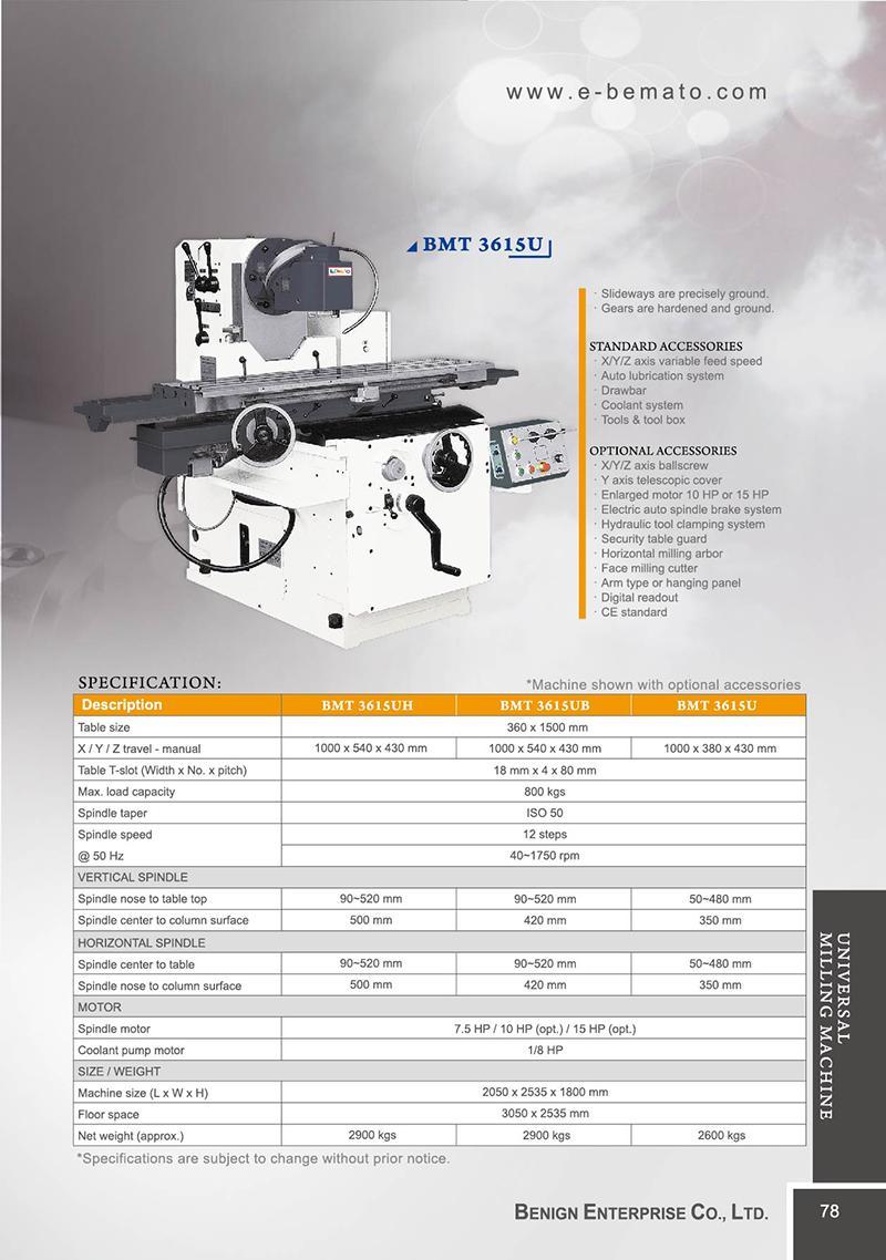 Universal Milling Machine Bemato Benign Enterprise Co Ltd