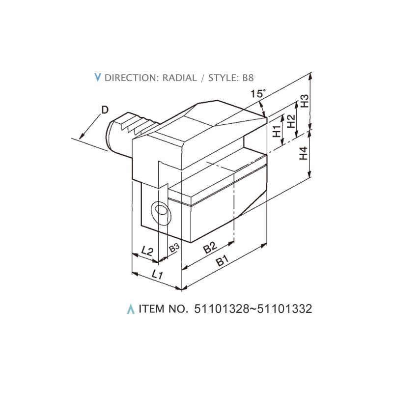 DIN 69880 RADIAL STATIC HOLDERS (STYLE: B8)