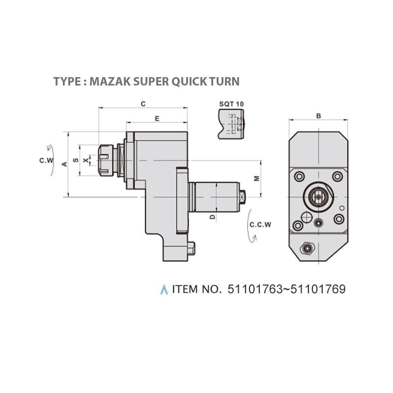 V TYPE MILLING AND DRILLING HEAD OFFSET (0°) (TYPE: MAZAK SUPER QUICK TURN)