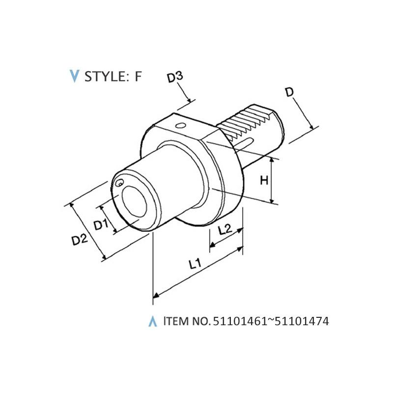 DIN 69880 STATIC HOLDERS (STYLE: F)