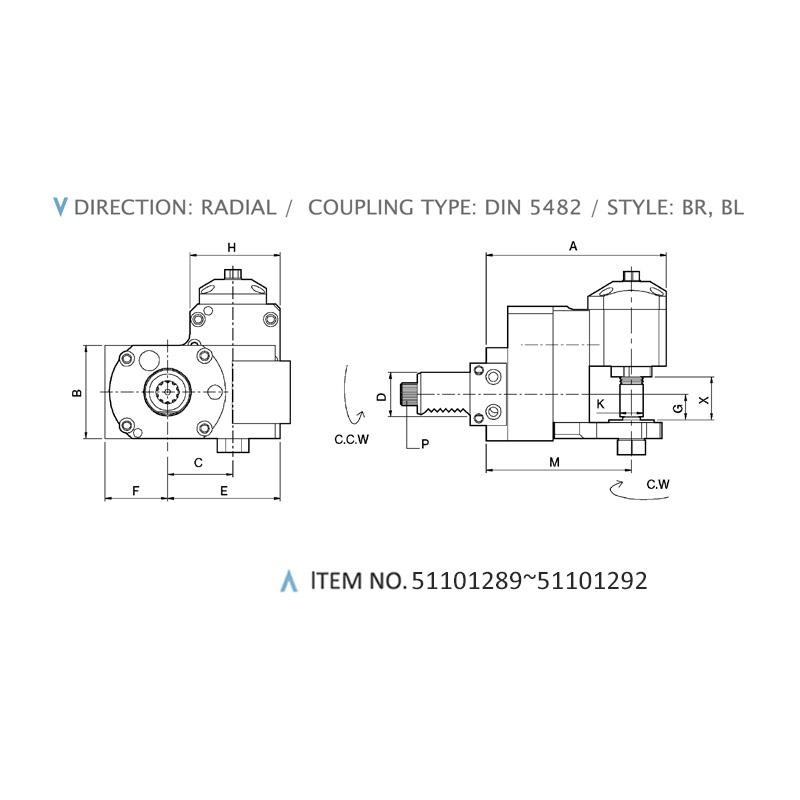 RADIAL MILLING HEADS - DISK CUTTER UNITS (DIN 5482 / STYLE: BR, BL)