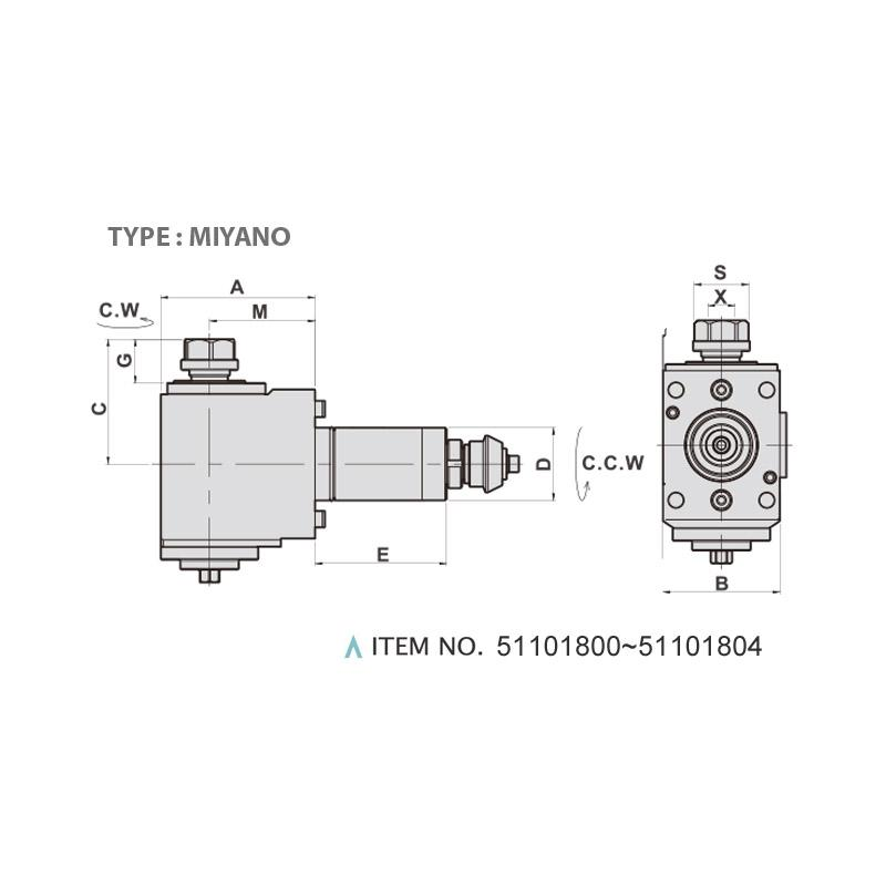 RADIAL MILLING AND DRILLING HEAD (90°) (TYPE: MIYANO)