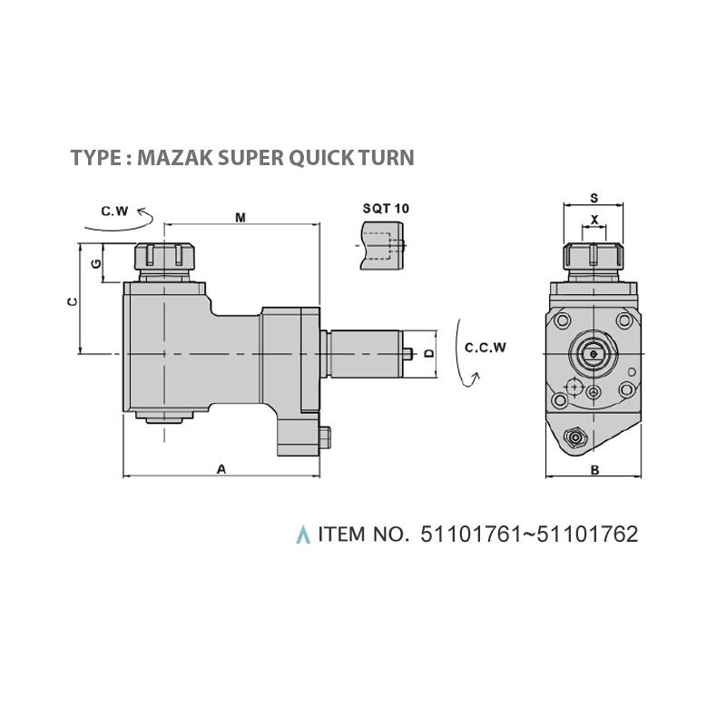 H TYPE TAPPING HEAD (90°) (TYPE: MAZAK SUPER QUICK TURN)