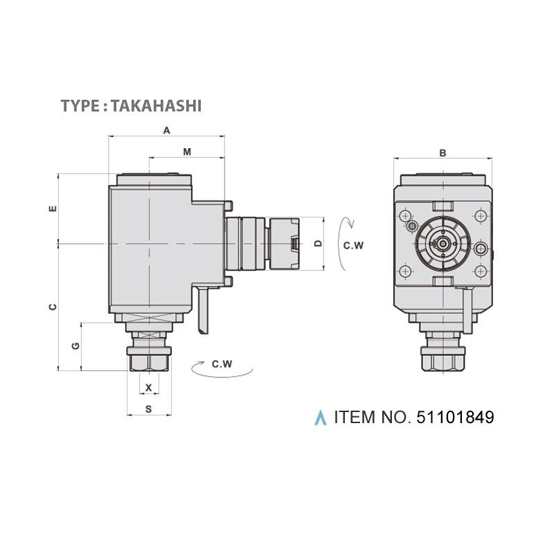 RADIAL MILLING AND DRILLING HEAD (90°) (TYPE: TAKAHASHI)