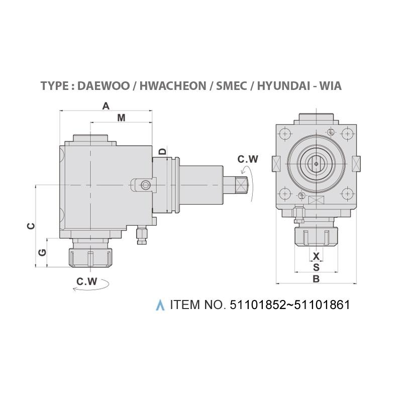 RADIAL MILLING AND DRILLING HEAD (90°) (TYPE: DAEWOO / HWACHEON / SMEC / HYUNDAI - WIA)