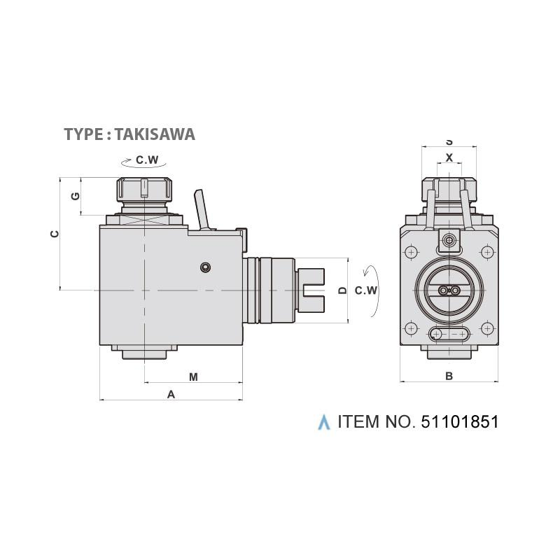 RADIAL MILLING AND DRILLING HEAD (90°) (TYPE: TAKISAWA)