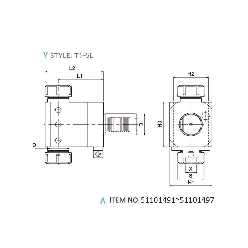DIN 69800 AXIAL STATIC HOLDERS (STYLE: T1-SL)