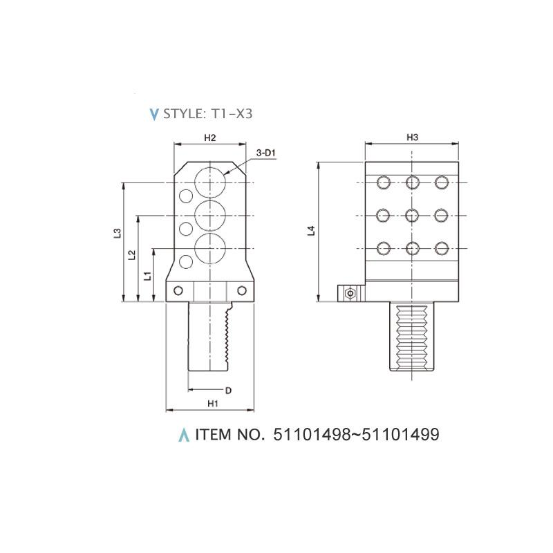DIN 69880 AXIAL STATIC HOLDERS (STYLE: T1-X3)