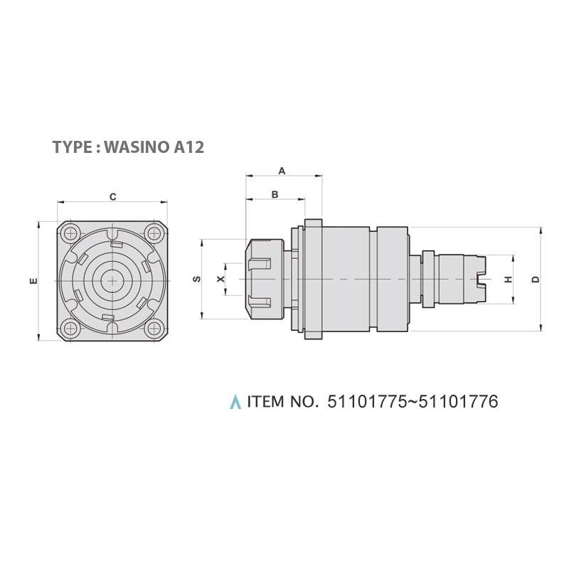 AXIAL MILLING AND DRILLING HEAD (0°) (TYPE: WASINO A12)