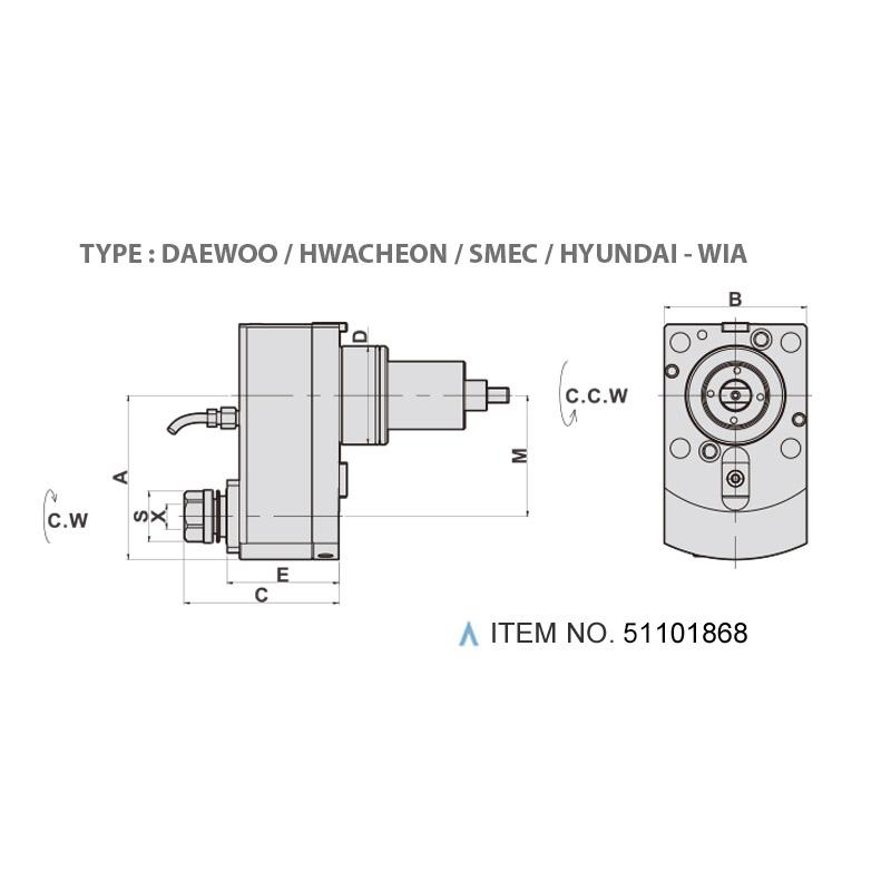 AXIAL MILLING AND DRILLING HEAD OFFSET (0°) (TYPE: DAEWOO / HWACHEON / SMEC / HYUNDAI - WIA)