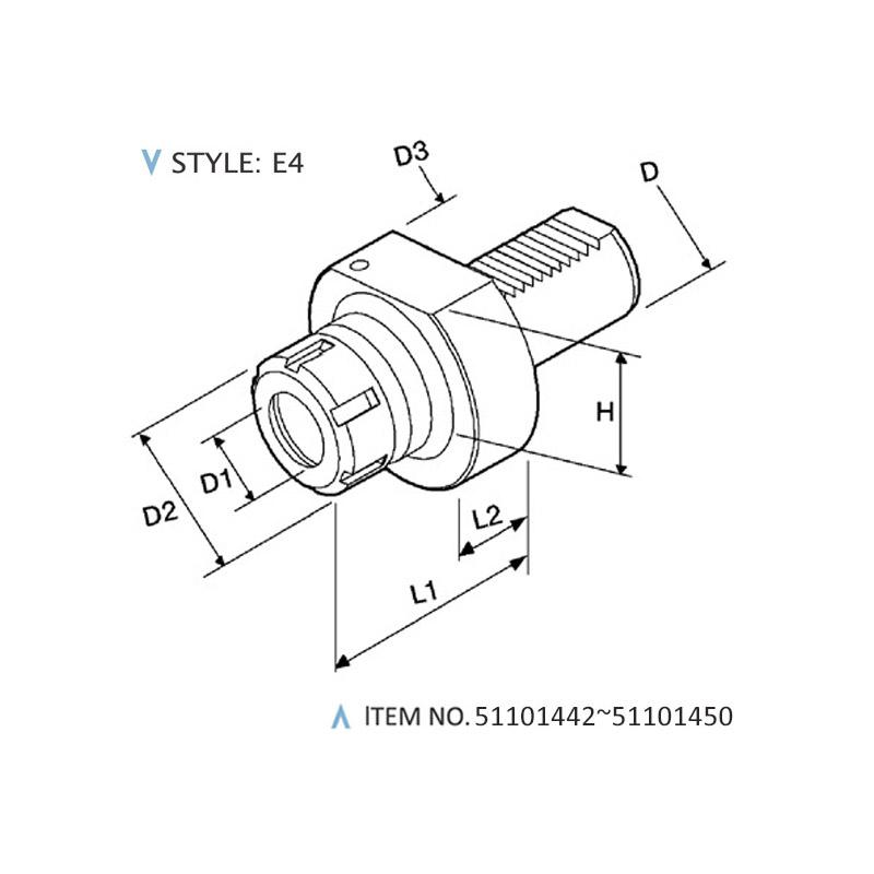 DIN 69880 STATIC HOLDERS (STYLE: E4)