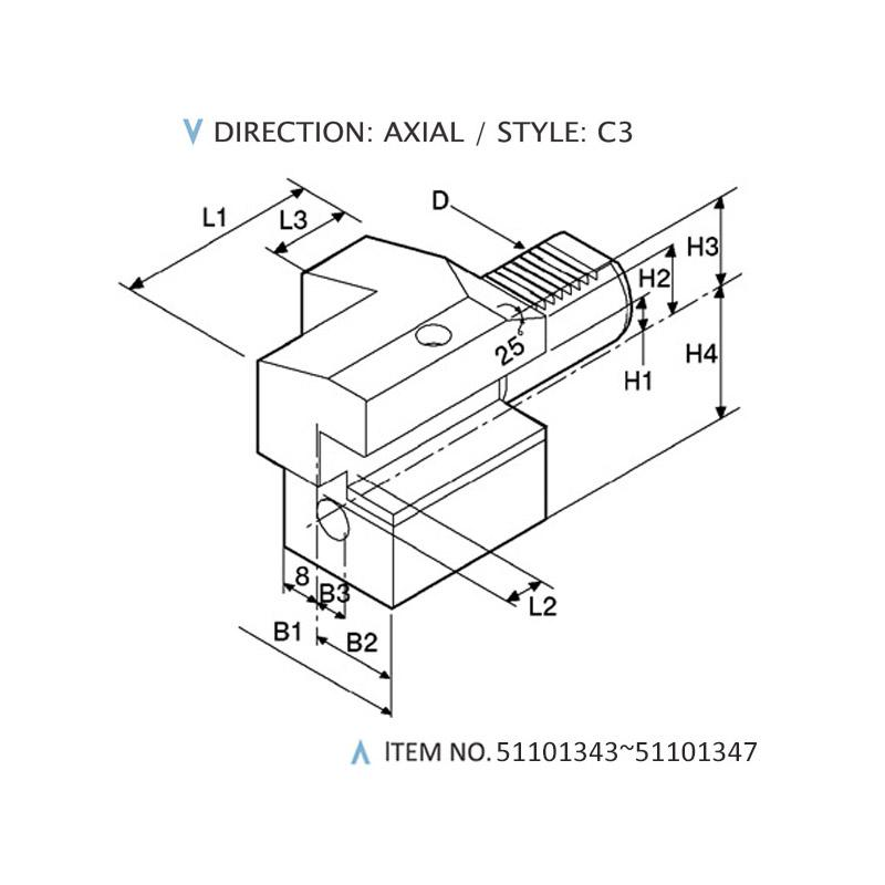 DIN 69880 AXIAL STATIC HOLDERS (STYLE: C3)
