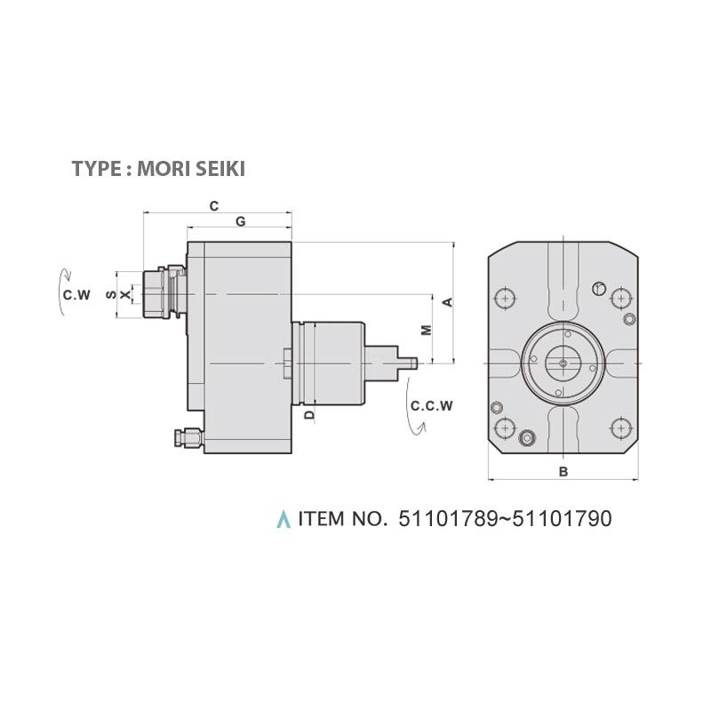 AXIAL MILLING AND DRILLING HEAD OFFSET (0°) (TYPE: MORI SEIKI)
