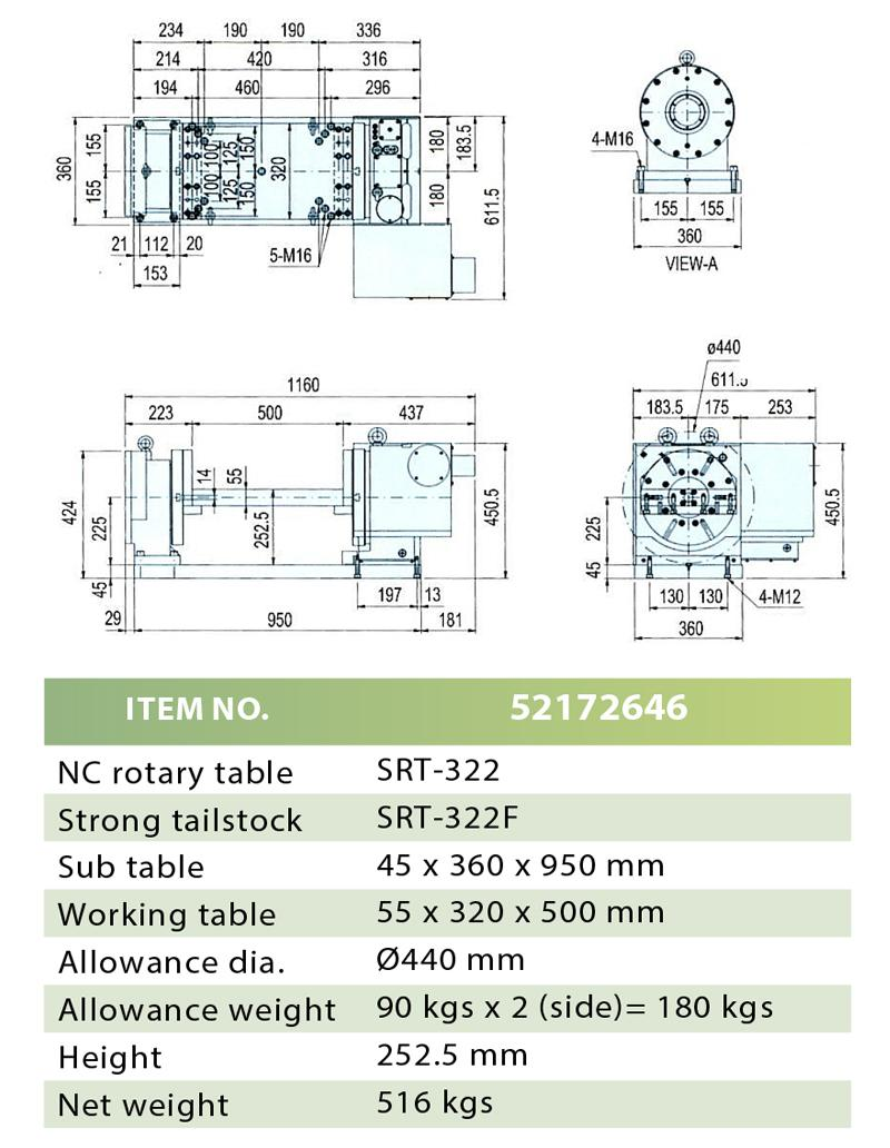 NC ROTARY TABLE & STRONG TAILSTOCK (TABLE)