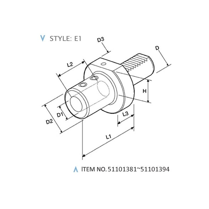 DIN 69880 STATIC HOLDERS (STYLE: E1)