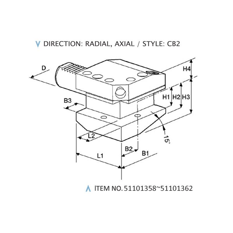 DIN 69880 COMBINED STATIC HOLDERS (STYLE: CB2)