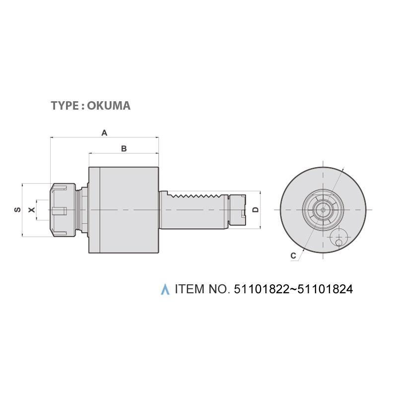 AXIAL MILLING AND DRILLING HEAD (0°) (TYPE: OKUMA)