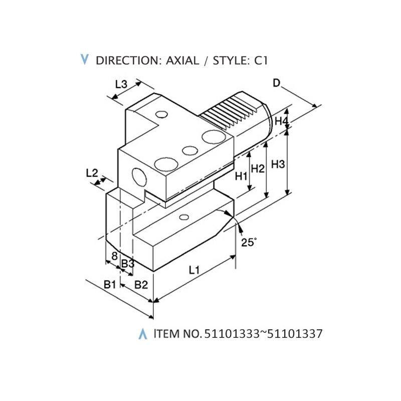 DIN 69880 AXIAL STATIC HOLDERS (STYLE: C1)